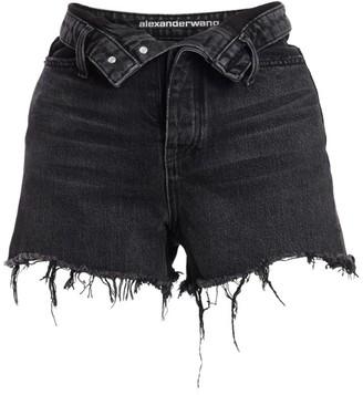 Alexander Wang Bite Foldover Frayed Denim Shorts