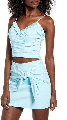 4SI3NNA the Label Naya Ruffle Neckline Stretch Cotton Tank Top