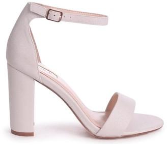 Linzi Nelly Cream Glitter Suede Suede Single Sole Block Heels