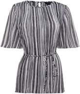 Ellen Tracy Pleated Stripe Top