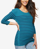 Motherhood Maternity Button-Side Striped Sweater