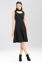 Josie Natori Double Knit Jersey Turtle Neck Dress