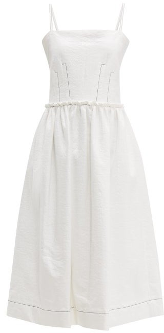 Marni Coated Tweed Midi Dress - White
