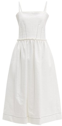 Marni Coated Tweed Midi Dress - Womens - White