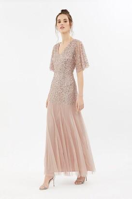 Coast Sequin Angel Sleeve Maxi Dress