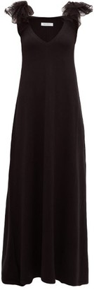 Ryan Roche - Ruffled Lace-trim Cashmere Dress - Black