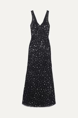 ATTICO Sequined Tulle Maxi Dress - Black