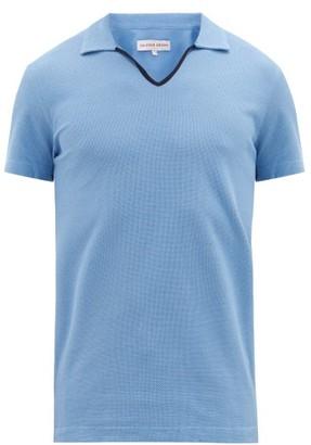 Orlebar Brown Marden Open-placket Cotton-pique Polo Shirt - Mens - Blue