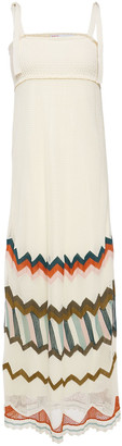 RED Valentino Shirred Crocheted Cotton-blend Maxi Dress