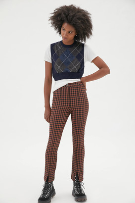 Urban Outfitters Tessa Plaid Notched Pant