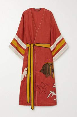 Eres Vita Kin Tasmania Embroidered Linen Kimono - Bright orange