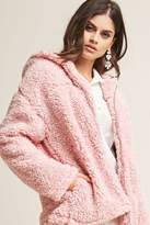 Forever 21 Hooded Faux Shearling Jacket