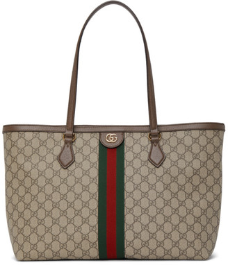 Gucci Brown and Beige Ophidia Supreme Tote Bag