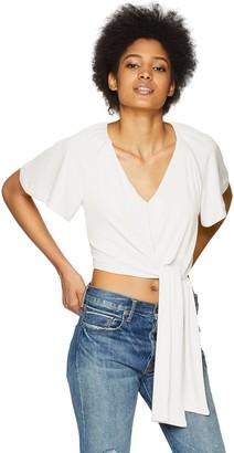 C/Meo Women's Recollect Short Sleeve V Neck TIE Front Crop TOP