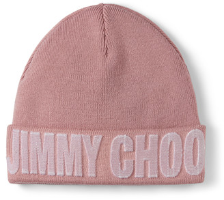 Jimmy Choo FRAN Mauve Blended Wool Knit Hat
