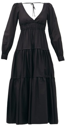 Three Graces London Theodora V-neck Tiered Cotton Dress - Black