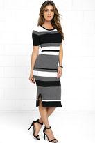 Olive + Oak Olive & Oak This Love Black Striped Midi Sweater Dress
