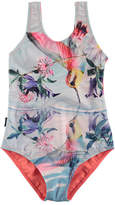Molo Nika One-Piece Hummingbird Swimsuit, Size 2-12