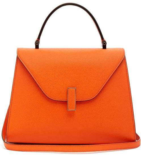 Valextra Iside Medium Grained Leather Bag - Womens - Orange