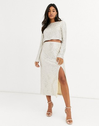 UNIQUE21 sequin midi skirt-Silver