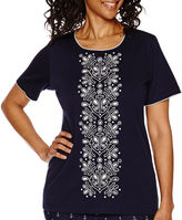 Alfred Dunner All Aboard Short-Sleeve Cutout Top