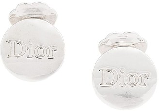 Christian Dior Logo Embossed Round Clip-On Earrings