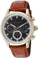 Vince Camuto Men's Quartz Stainless Steel and Leather Dress Watch, Color:Brown (Model: VC/1089BKGP)