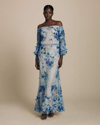 Marchesa Off Shoulder 3D Embroidered Gown