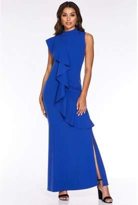 Quiz Royal Blue Frill Split Maxi Dress