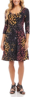Karen Kane Tie Dye Burnout A-Line Dress