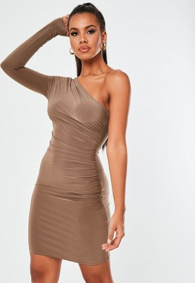 Missguided Brown Slinky Seam Free One Shoulder Mini Dress