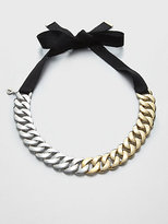 Two-Tone Chain Link Ribbon Necklace