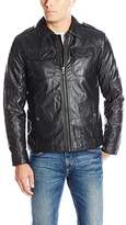 Lucky Brand Men's Amherst Faux Leather Moto Jacket