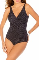 Plus Size Women's Miraclesuit Pin Point Oceanus One-Piece Swimsuit