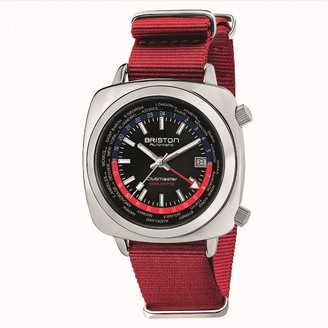 Briston Clubmaster Traveler Worldtime Gmt Automatic, Steel, Black Dial And Red Nato Strap Limited Edition