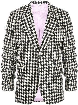 Gucci Houndstooth ruched-sleeve blazer