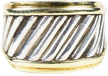 David Yurman 925 Sterling Silver & 18K Yellow Gold Cocktail Ring Size 7