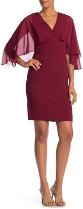 Marina Surplice Cape Sleeve Sheath Dress
