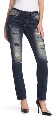 Rock Revival Mid-Rise Distressed Skinny Jeans