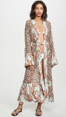 PatBO Mixed Print Sheer Robe