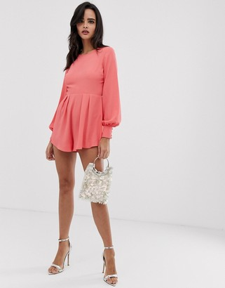 Asos Design DESIGN open back button cuff playsuit with frill hem