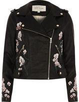 River Island Womens Black faux leather floral biker jacket