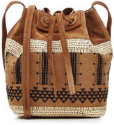 Vanessa Bruno Linen and Suede Drawstring Shoulder Bag