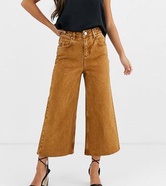 Asos DESIGN Petite premium wide leg jeans in mustard-Yellow