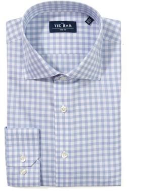 Tie Bar Heathered Gingham Light Blue Non-Iron Dress Shirt