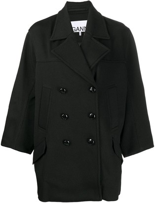 Ganni Double-Breasted Ribbed Coat