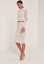 Missguided Nude Premium Embroidered Midi Skirt