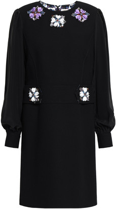 Emilio Pucci Poplin-paneled Embellished Crepe Mini Dress