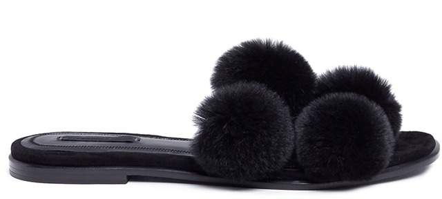 Alexander Wang 'Ava' pompom fur slide sandals