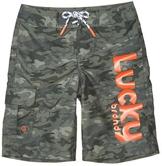 Lucky Brand Kids Camo Boardshorts (Big Kids) (Burnt Olive Camo) Boy's Swimwear